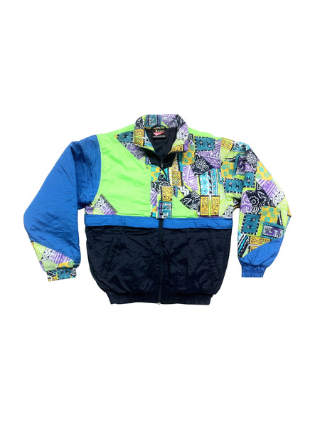SOLD - Wild 1990 Royal Pacific NYC Graphic Colorblock Ski Jacket - S