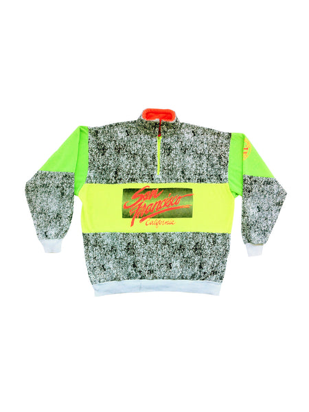 SOLD - Rad 80 Neon San Francisco Static Print Sweater - M