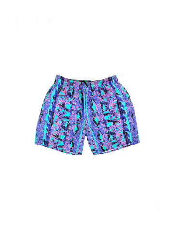 SOLD - Wicked 80s Neon Jazz Wavy Cotton Workout Shorts - 28 to 34