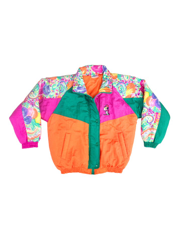 SOLD - Rainbow 80s Snoopy Colour Block Abstract Ski Jacket - S
