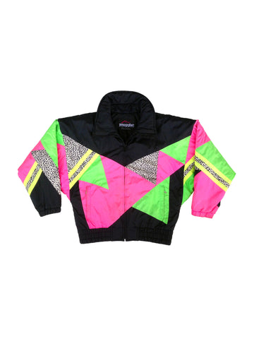 SOLD - Extreme 80s Neon Triangle Zebra Explosion Ski Jacket - S / M