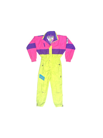 SOLD - Wicked 90s Neon American One Piece Snowboard Suit - Medium