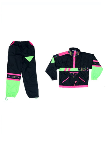 SOLD - Extreme 80s Neon Colorblock Aztec Super Suit - S / 26 to 30