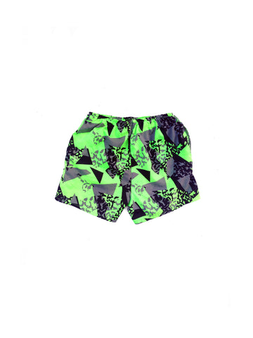 SOLD - Righteous 80s Neon Green Geo Static Swim Trunks - 28 to 36