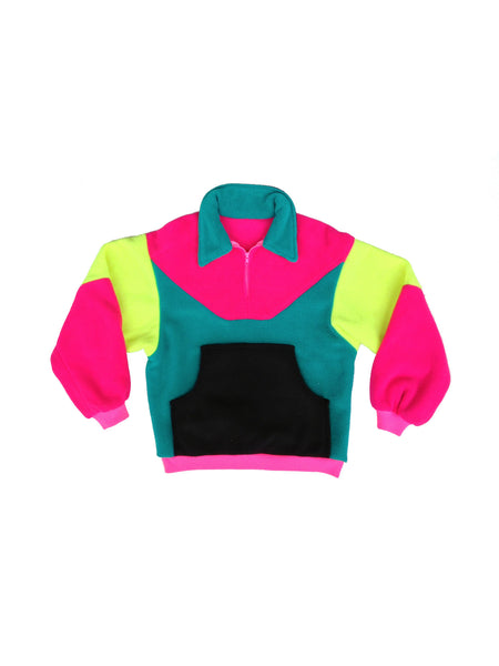 SOLD - Super Soft 80s Unbranded Neon Colorblock Fleece Pullover - M