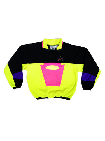SOLD - Insane 80s Neon Colorblock Party Time Fleece Sweater - XL