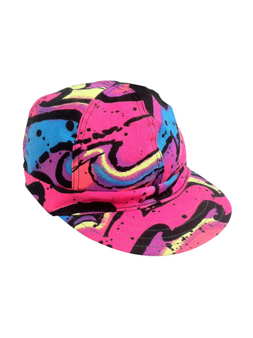 Wild 90s Neon Acid Marble Print Fitted Cap - 7 & 1/4