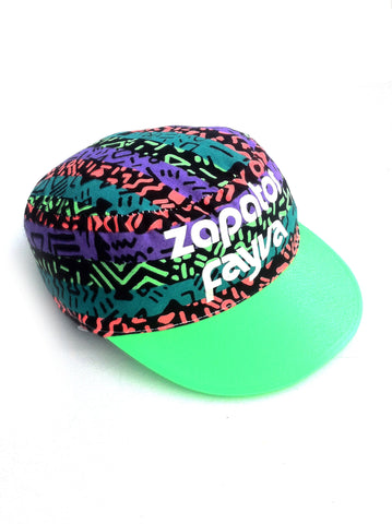 Wild 80s Allover Neon Tribal Zapatos Plastic Brimmed Flat-Top Cap