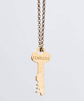 FEARLESS Classic Key Necklace in Antique Gold Necklaces The Giving Keys FEARLESS Antique Gold