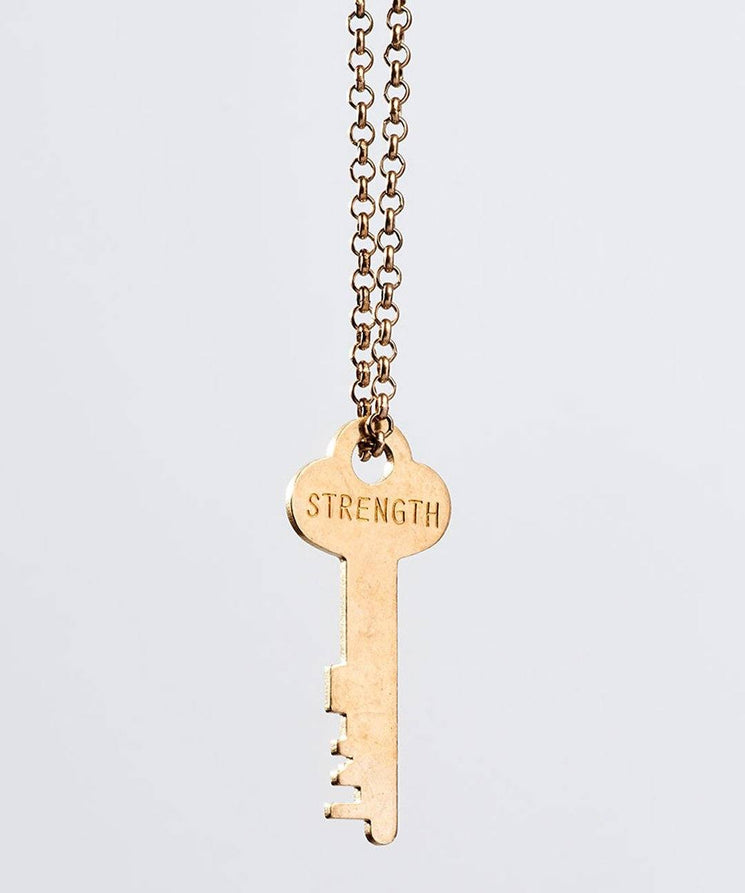 STRENGTH Classic Key Necklace Necklaces The Giving Keys STRENGTH Antique Gold
