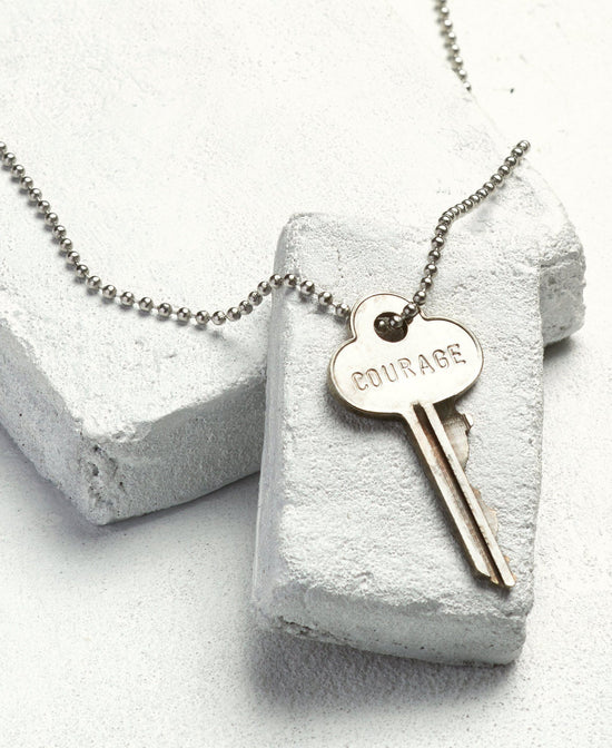 COURAGE Classic Silver Necklace Necklaces The Giving Keys
