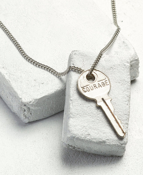 COURAGE Classic Silver Necklace Necklaces The Giving Keys COURAGE Silver