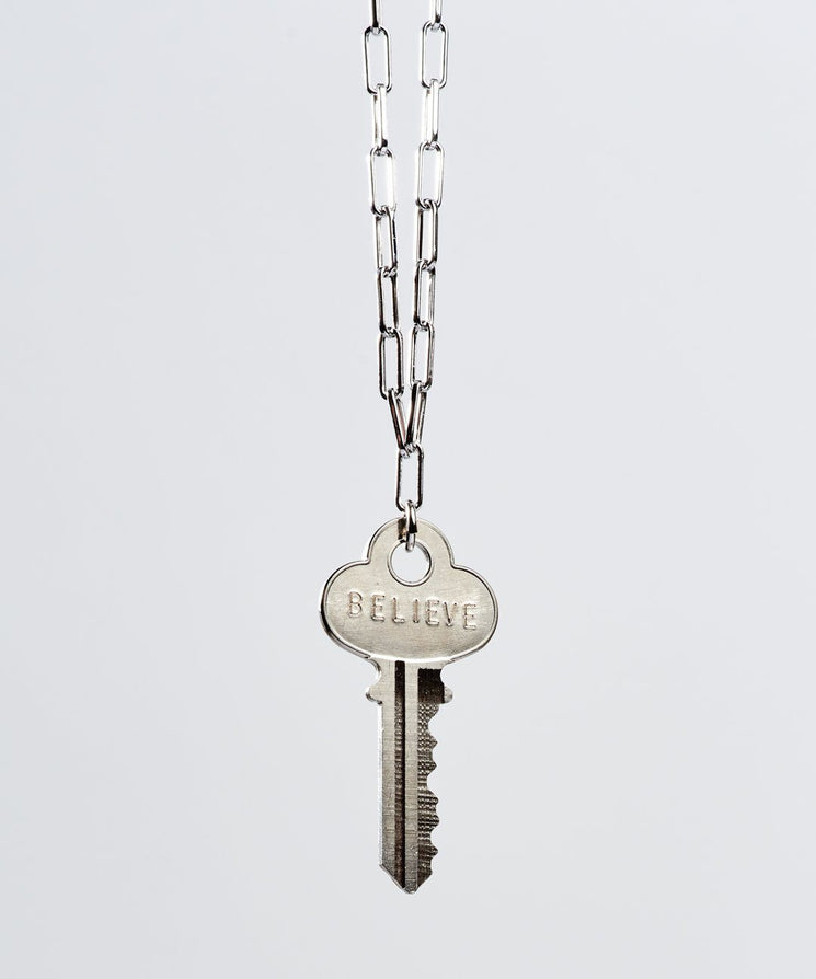 Brooklyn Classic Key Necklace Necklaces The Giving Keys BELIEVE Silver