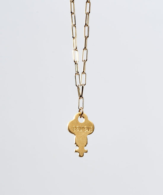 Brooklyn Dainty Key Necklace Necklaces The Giving Keys BELIEVE Gold