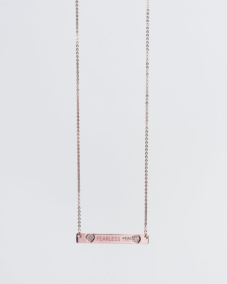 FEARLESS Pave Bar Necklace Necklaces The Giving Keys FEARLESS ROSE GOLD
