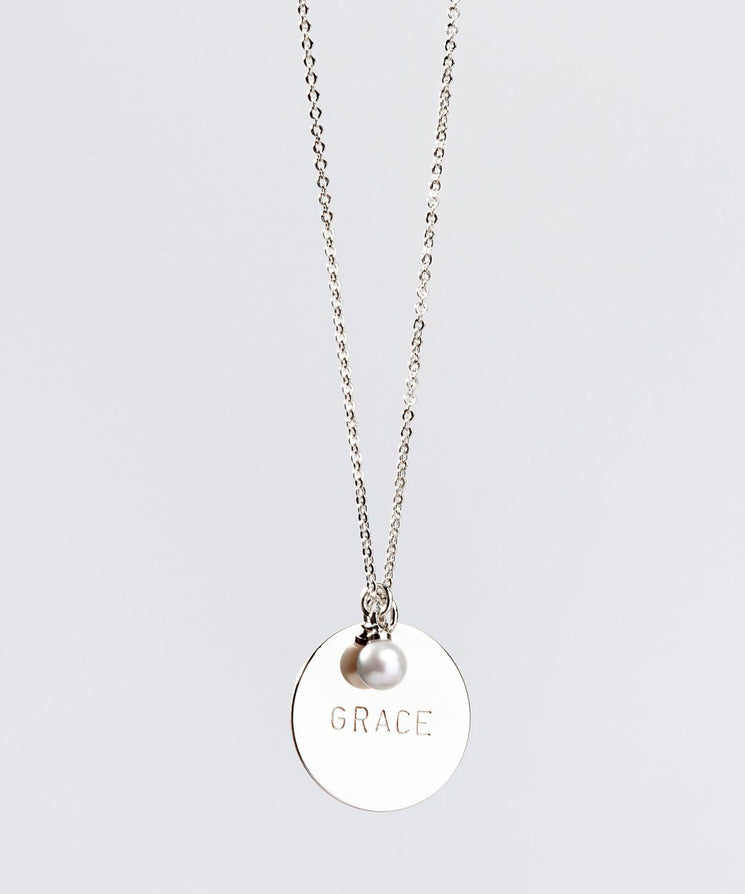 Faith Pearl & Disc Necklace Necklaces The Giving Keys GRACE SILVER