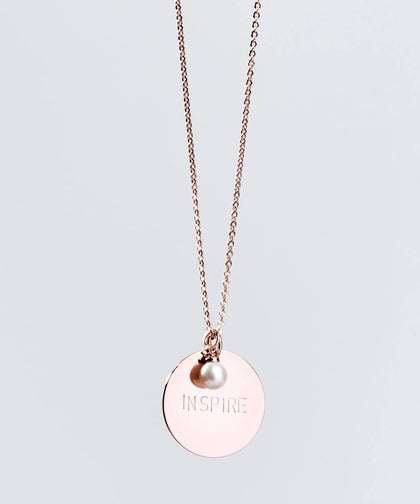 Faith Pearl & Disc Necklace Necklaces The Giving Keys INSPIRE ROSE GOLD