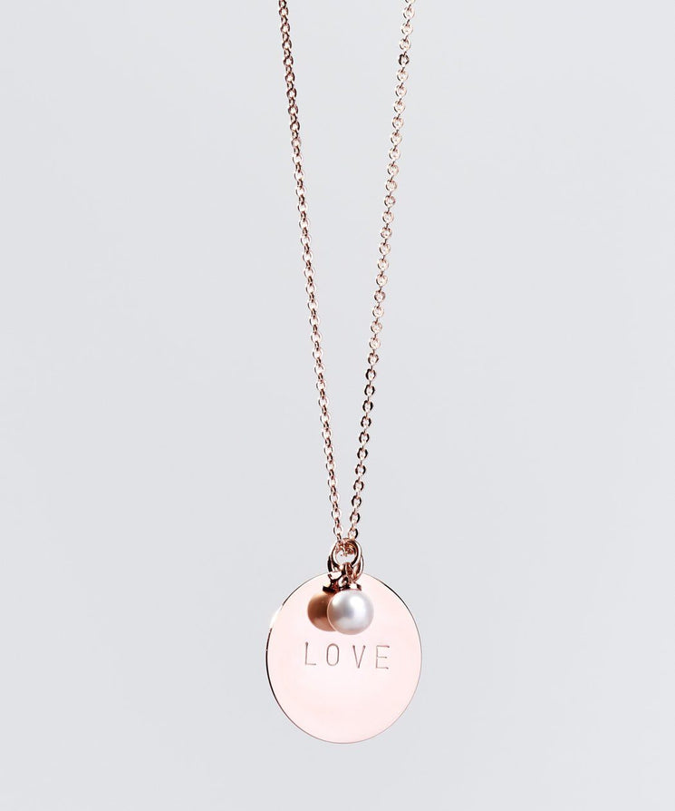 Faith Pearl & Disc Necklace Necklaces The Giving Keys LOVE ROSE GOLD
