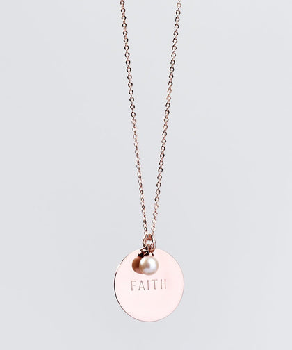 Faith Pearl & Disc Necklace Necklaces The Giving Keys FAITH ROSE GOLD