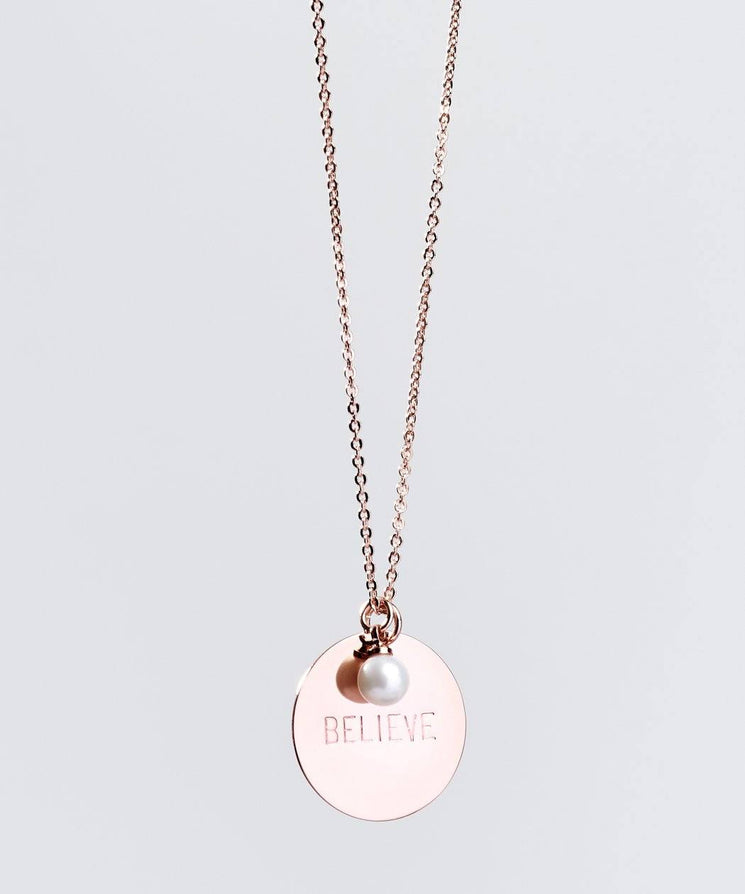Faith Pearl & Disc Necklace Necklaces The Giving Keys BELIEVE ROSE GOLD