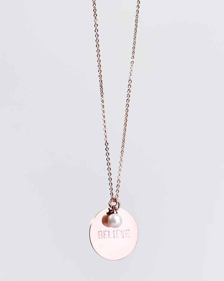 Mother's Day Single Pearl Disc Necklace in Rose Gold Necklaces The Giving Keys BELIEVE ROSE GOLD
