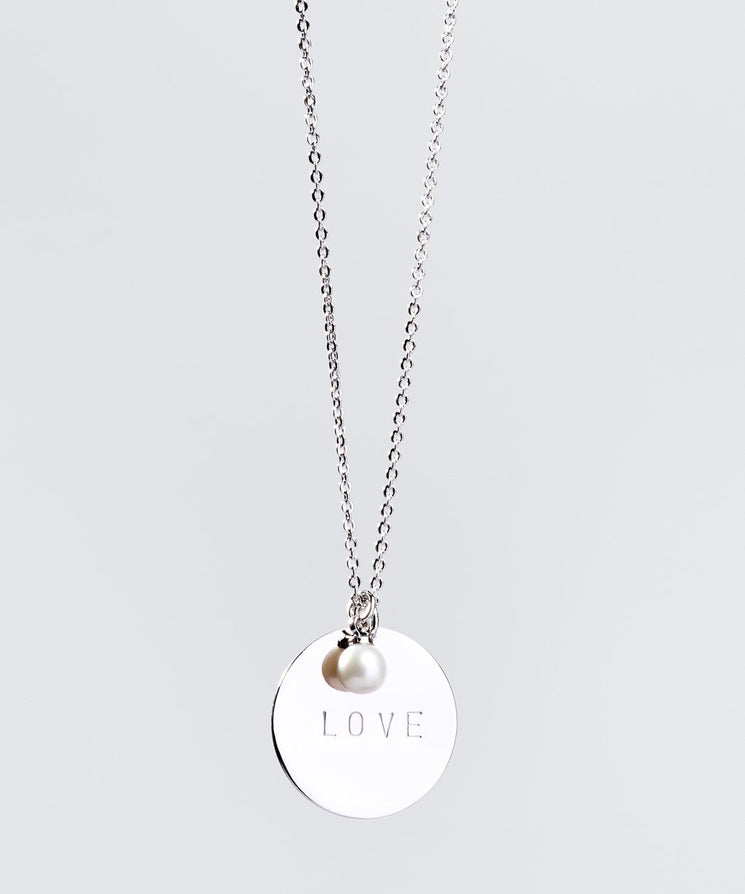 Faith Pearl & Disc Necklace Necklaces The Giving Keys LOVE SILVER