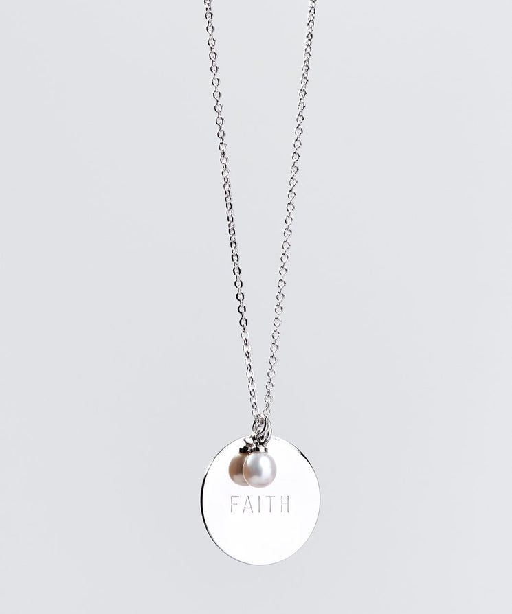 Faith Pearl & Disc Necklace Necklaces The Giving Keys FAITH SILVER
