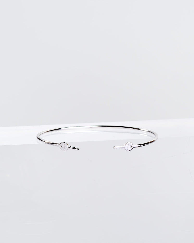 Silver Wrapped Mini Key Bangle Bracelets The Giving Keys HOPE + LOVE Silver