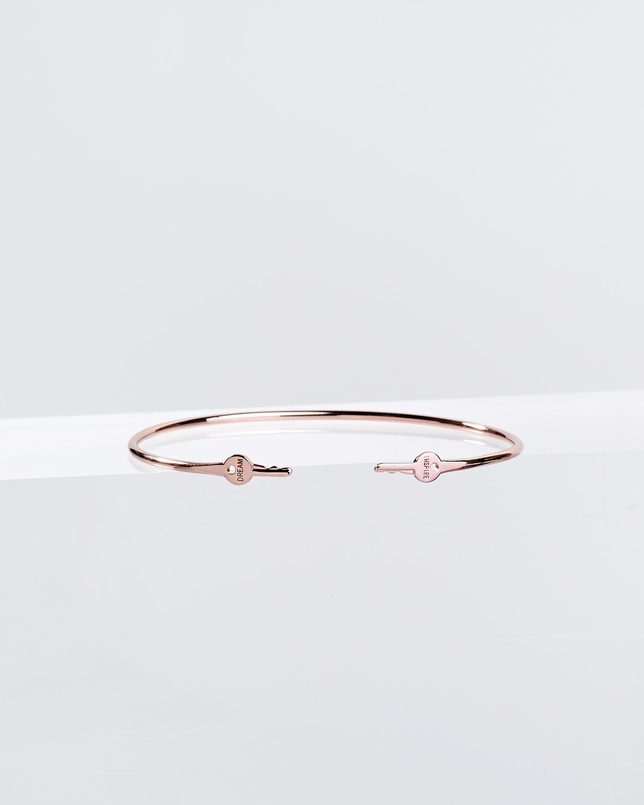 Rose Gold Wrapped Mini Key Bangle Bracelets The Giving Keys DREAM + INSPIRE Rose Gold