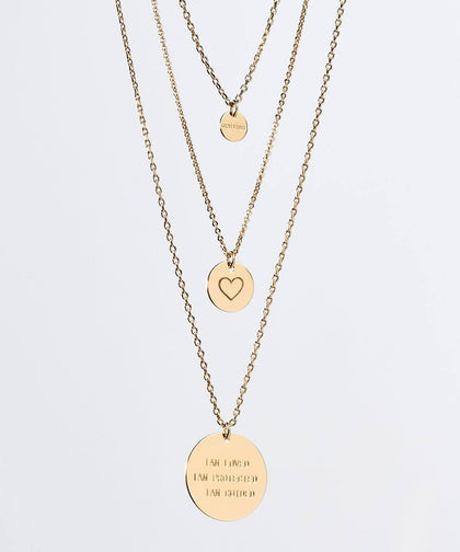 Gratitude Layered Disc Necklace Necklaces The Giving Keys Gold HEART