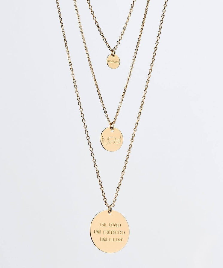 Gratitude Layered Disc Necklace Necklaces The Giving Keys Gold ANGEL WINGS