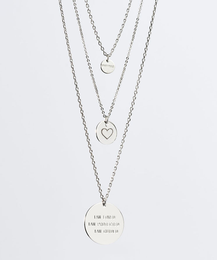 Gratitude Layered Disc Necklace Necklaces The Giving Keys Silver HEART
