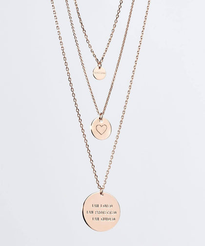 Gratitude Layered Disc Necklace Necklaces The Giving Keys Rose Gold HEART
