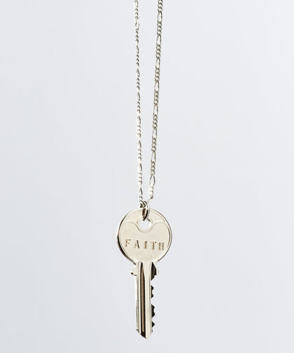 Florence Classic Key Necklace Necklaces The Giving Keys FAITH Silver