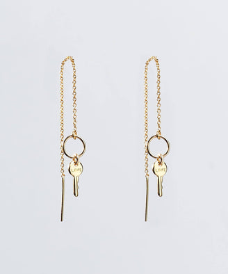 Dignity Threader Earrings Earrings The Giving Keys LOVE GOLD