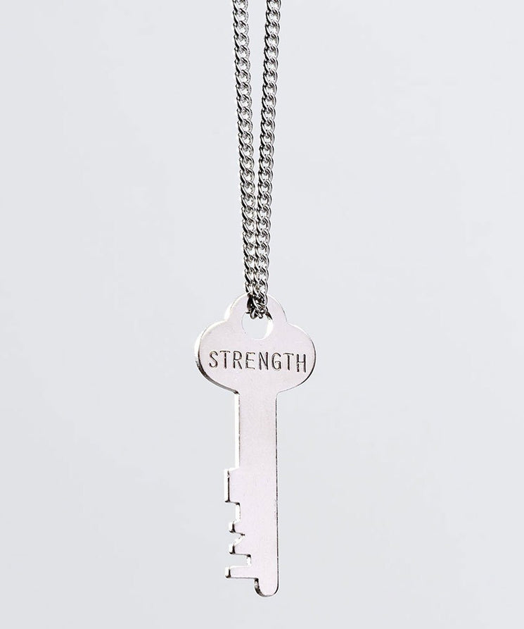 STRENGTH Classic Key Necklace Necklaces The Giving Keys STRENGTH Silver Ball