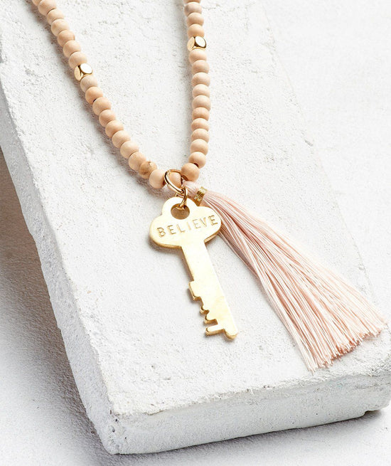 Inspiration Bead Tassel Key Necklace