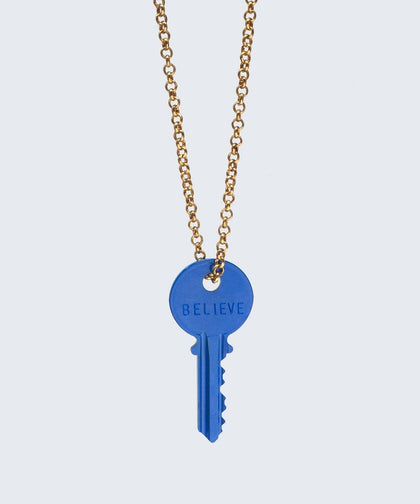 BLUE Pantone Color of the Year Classic Key Necklace Necklaces The Giving Keys BELIEVE GOLD