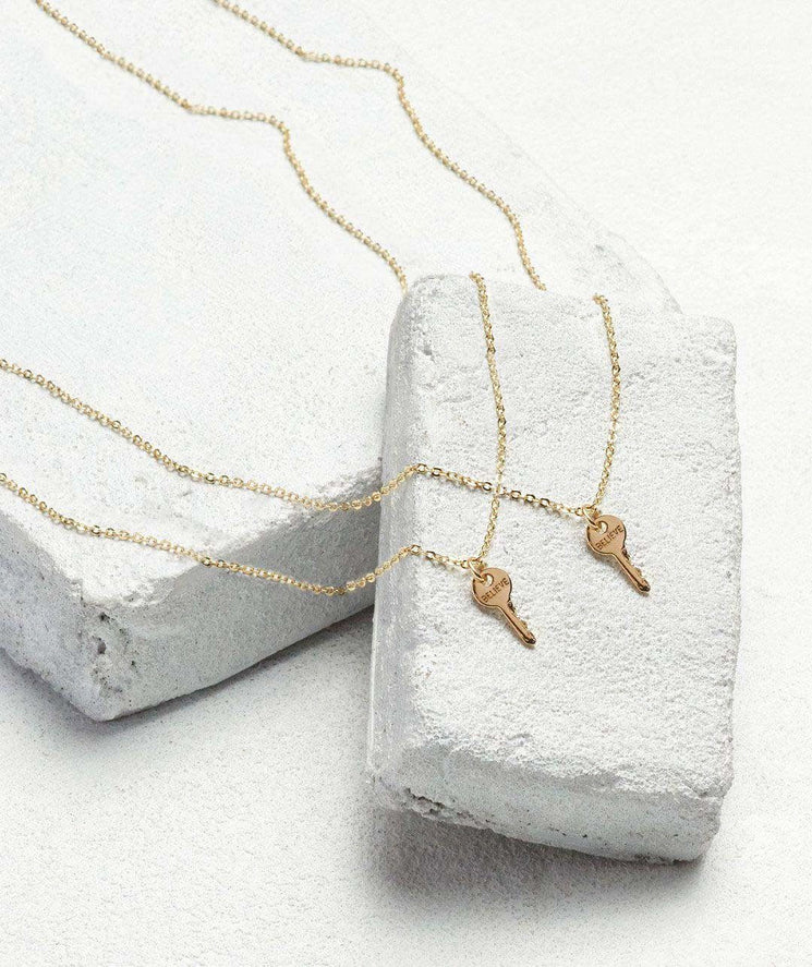 Best Friend Mini Key Necklace Set (2) Necklaces The Giving Keys BELIEVE Gold