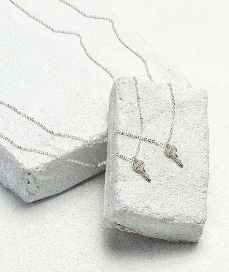 Best Friend Mini Key Necklace Set (2) Necklaces The Giving Keys BELIEVE Silver