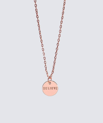 Rose Gold Small Disc Pendant Necklace Necklaces The Giving Keys BELIEVE