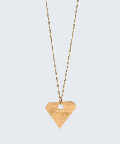 Diamond Pendant Dainty Necklace Necklaces The Giving Keys BELIEVE GOLD