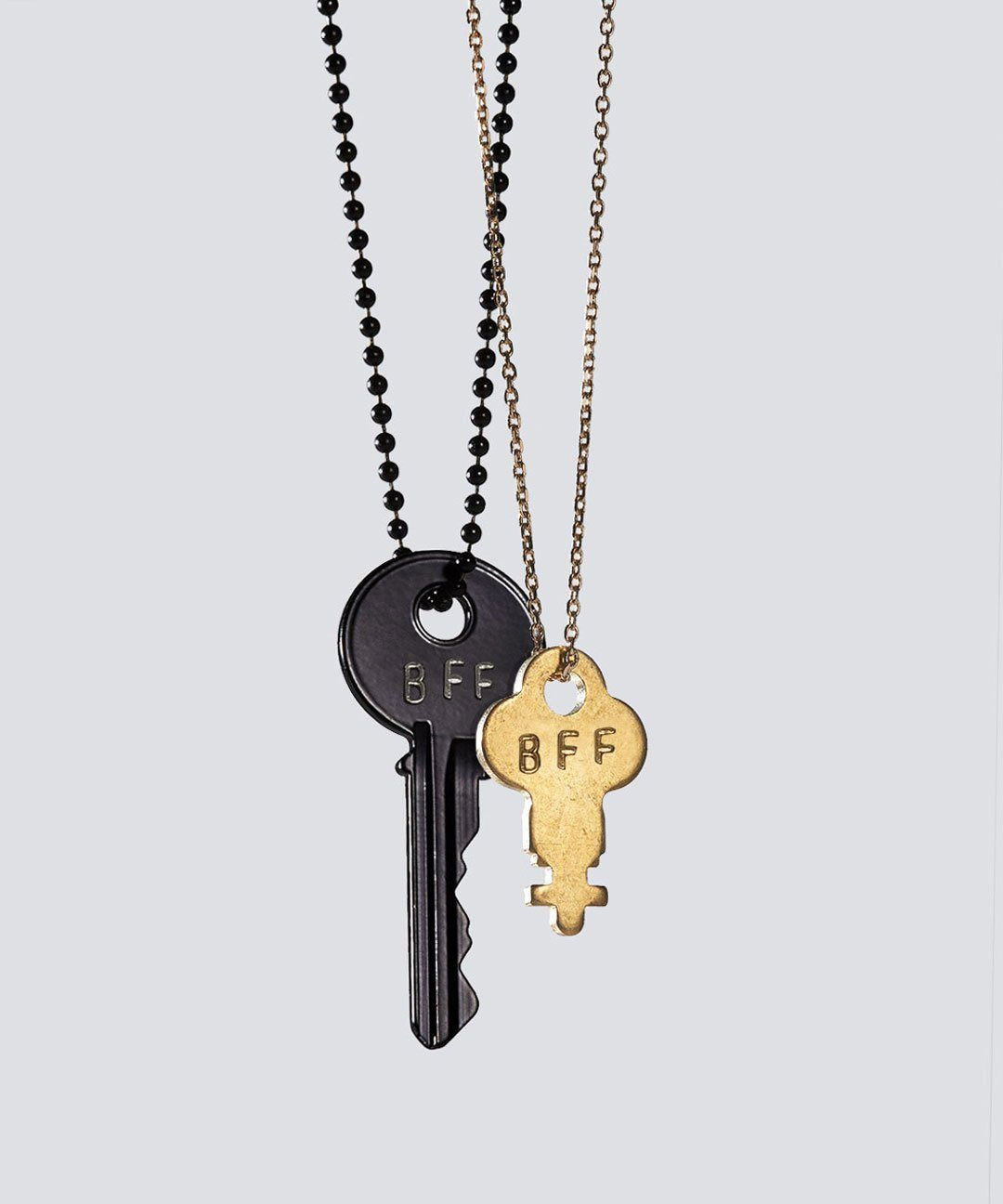 Best Friends Matte Black + Gold Dainty Key Necklace Set Necklaces The Giving Keys BFF BLACK/GOLD