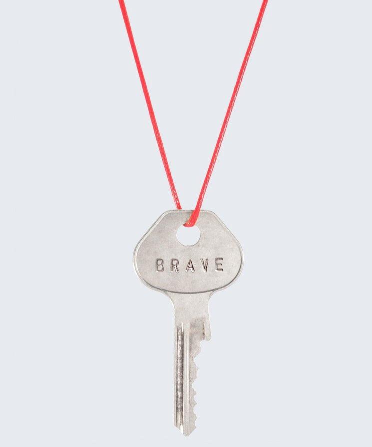 Red Strand Classic Key Necklace The Giving Keys CUSTOM SILVER