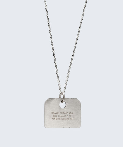 Definition Square Pendant Dainty Necklace Necklaces The Giving Keys BRAVE Silver