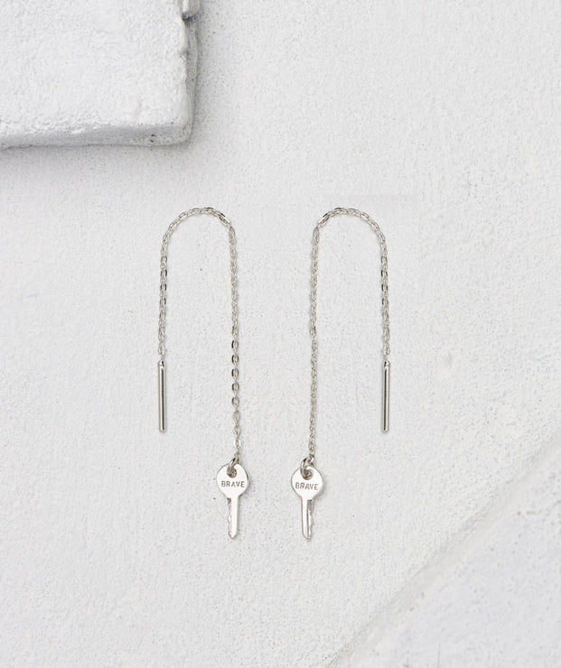 Mini Key Threader Earrings