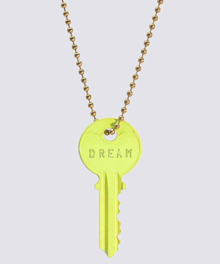 BRIGHT Yellow Classic Ball Chain Key Necklace Necklaces The Giving Keys DREAM GOLD