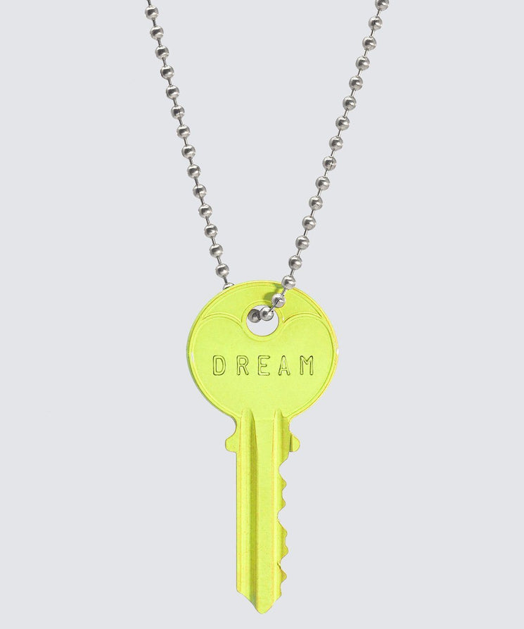 BRIGHT Yellow Classic Ball Chain Key Necklace Necklaces The Giving Keys DREAM SILVER