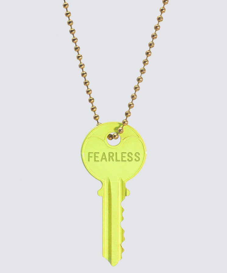BRIGHT Yellow Classic Ball Chain Key Necklace Necklaces The Giving Keys FEARLESS GOLD