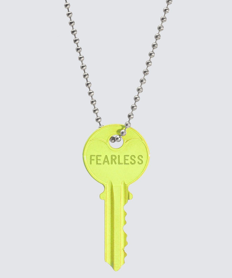 BRIGHT Yellow Classic Ball Chain Key Necklace Necklaces The Giving Keys FEARLESS SILVER